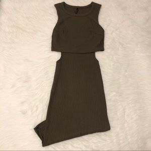 Olive Green Ribbed Dress